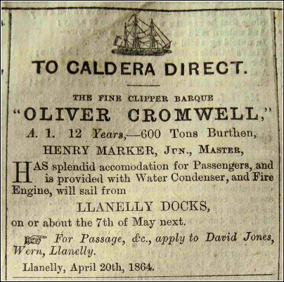 Advertisement in the Cambrian Newspaper April 20th. 1864