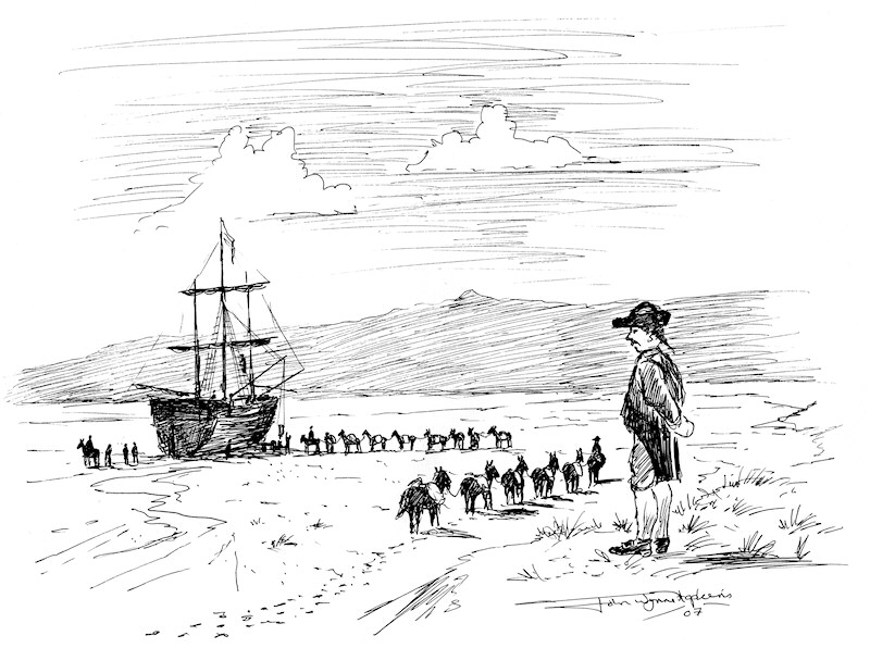 Early Shipping in Llanelly. Sketch by John Wynne Hopkins