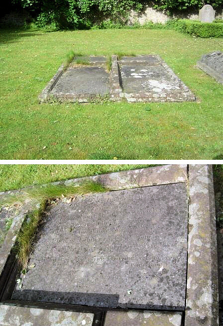 The double grave of Sir Stafford (right hand side) and the first Lady Howard (left hand side), with the graves of two of their sons visible on the right. Below: Sir Stafford's inscription