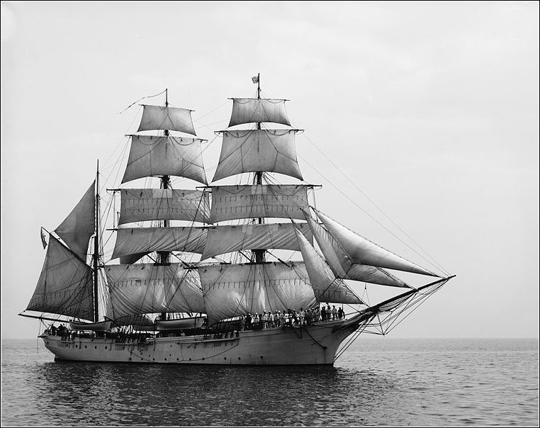 A photo of an unidentified three masted barque from the early 20th. Centuary. Wikimedia Commons