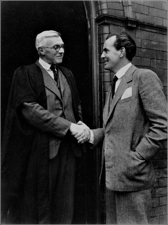 Clifford Evans is photographed with T. V. Shaw, headteacher of Llanelly Boys' Grammar School. I'm certain that the photo was taken at the door of the old school, situated at the top of Marble Hall Road. As a former pupil I went through that doorway many times. (Brian Davies)