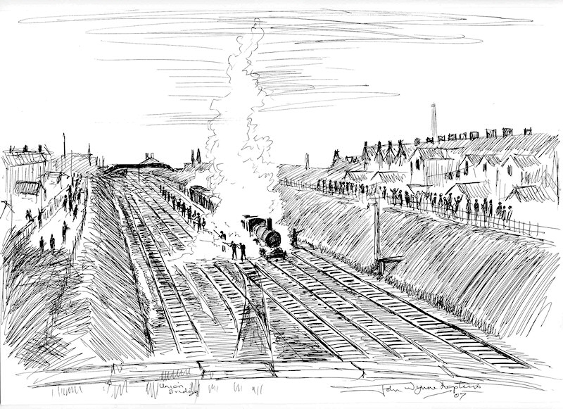 Railway Riots 1911:Sketch by John Wynne Hopkins