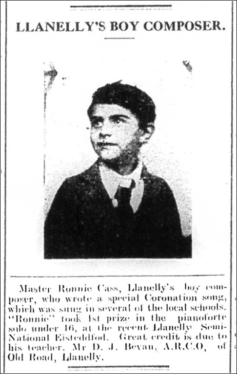 Ronnie Cass Llanelly & County Guardian May 1937