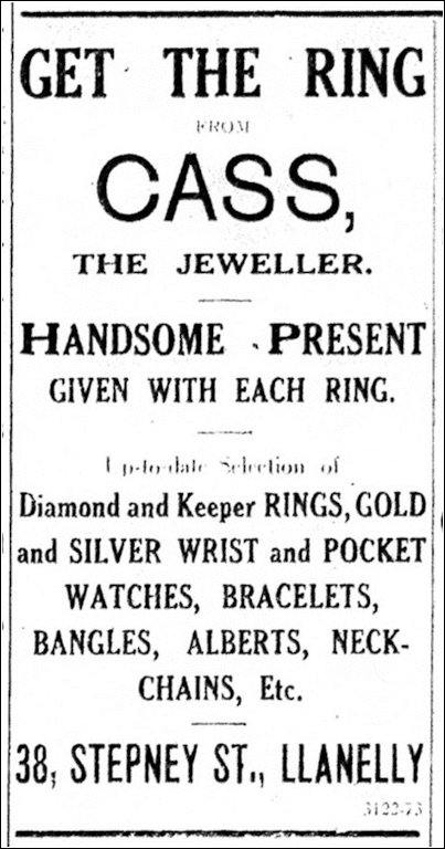 Cass the Jeweller, advertisment, Llanelly & County Guardian 24 May 1923