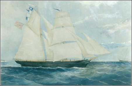 A watercolour of the Brigantine Clara Novello of Llanelly 1860