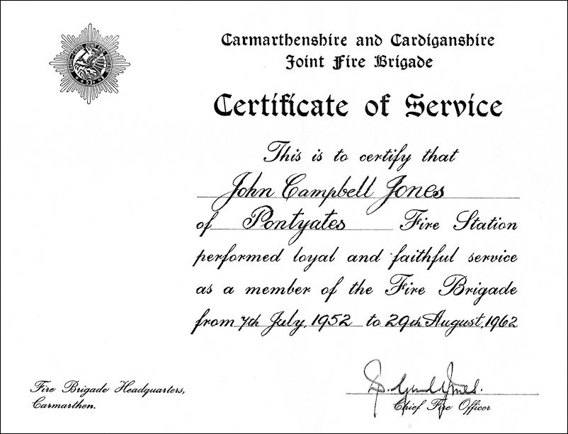 John Campbell Jones Certificate of Service
